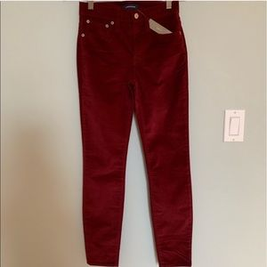 NWT Jcrew Red High Rise Corduroy Size 24